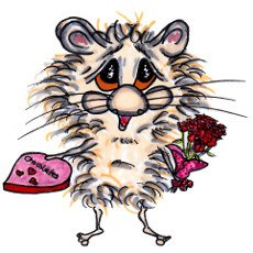 Harrison Hamster I with a heart shaped box of chocolates and a bunch of flowers for Valentine's Day