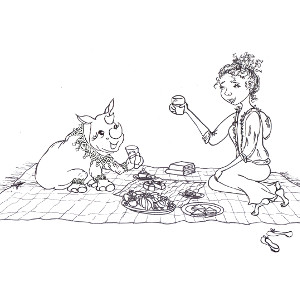 Colouring sheet featuring storybook rhino Heloise at a picnic in the park.
