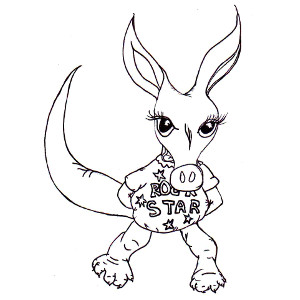 Colouring page of storybook aardvark Annabella in her 'rock star' shirt.