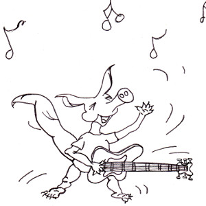 Storybook aardvark Annabella rocks out with her guitar (colouring page).