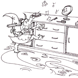 Annabella the picture-book aardvark sings as she dusts a cabinet (colouring page).