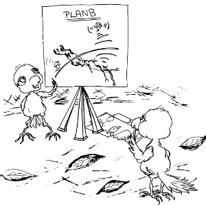 Storybook birds Cricket and Watson discuss plans for Operation Willow – colouring sheet.