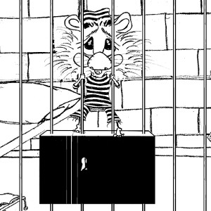 Cartoon hamster Harrison, stuck in jail, wearing prison stripes (colouring sheet).