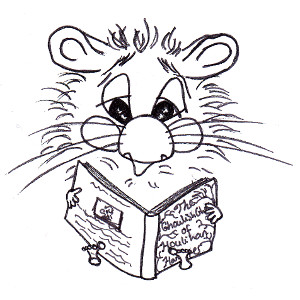 Harrison Hamster I is reading a book on this colouring page.