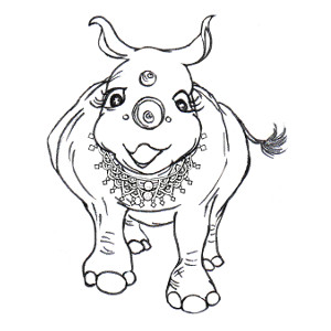 Storybook rhinoceros Heloise wears lots of jewellery on this colouring page.