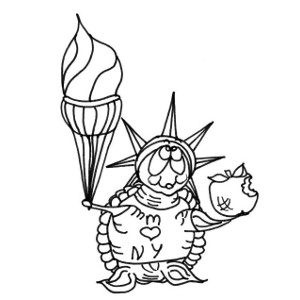 Colouring sheet featuring storybook turtle Moochie with NYC souvenirs.