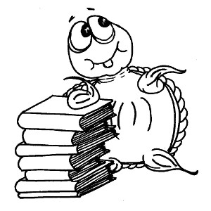 Moochie the turtle has a stack of books to read (colouring page).
