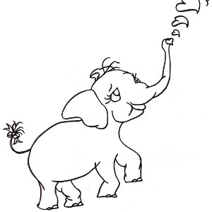 Picture-book elephant Pink Ethel blows heart-shaped bubbles in this colouring sheet.