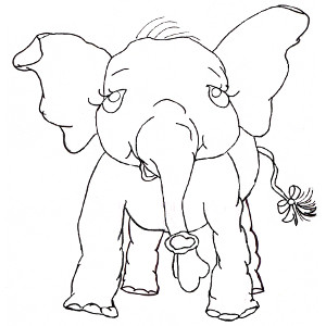 Picture-book elephant Pink Ethel smiles at you from this colouring page.