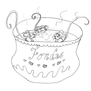 Colouring sheet with storybook mice Squeaks, Megan and Cornelia in the cheese bath.