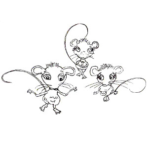 Colouring sheet featuring mischievous storybook mice Squeaks, Megan and Cornelia.