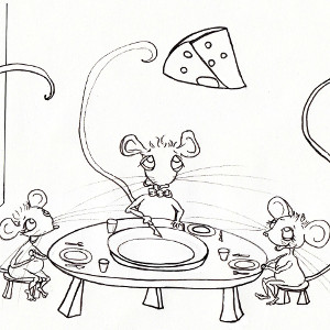 Cartoon mice Squeaks, Megan and Cornelia enjoy a cheesy dinner (colouring page).