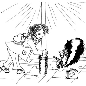 Stink the storybook skunk meets his friend Amy (colouring sheet).