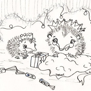 It's Christmastime for storybook hedgehogs Corduroy and Velvet (colouring page).