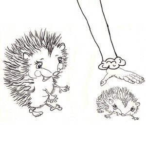 Storybook hedgehog Velvet welcomes her son Corduroy back with open arms (colouring page).