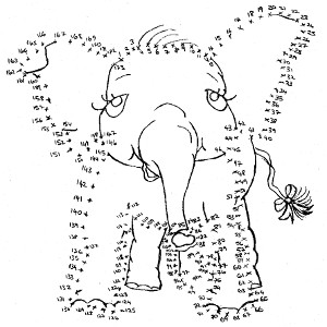 Printable connect-the-dots puzzle for kids featuring storybook elephant Pink Ethel.