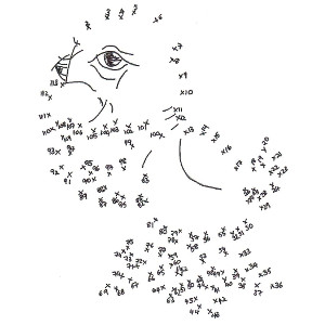 Printable connect-the-dots puzzle for kids featuring picture-book bird Watson.