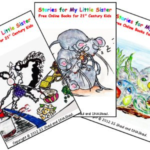 Three Stories for My Little Sister playing cards, featuring picture-book characters.