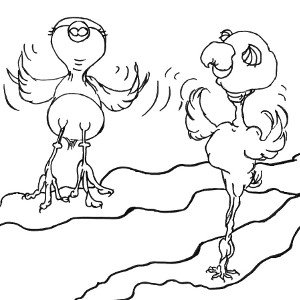 Line drawing of storybook birds Cricket and Watson flapping their wings.