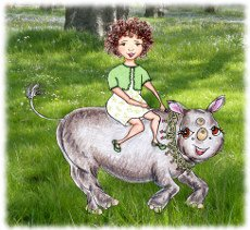 Girl riding rhino - illustration from the free children's picture book 'Meet Heloise'