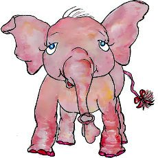 Pink elephant - illustration from the free children's picture book 'Pink Ethel'