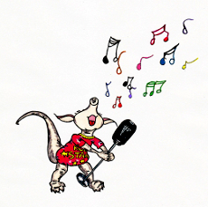 Singing aardvark - illustration from the free children's picture book 'Annabella, Little Aardvark...Big Dream!'