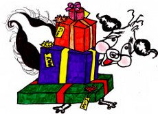 Stinky the skunk with presents - illustration from the free children's picture book 'Stinky's Christmas Surprise'