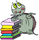 Moochie the mischievous turtle leans against a stack of books.